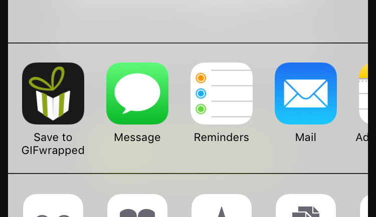 """The """"Save to GIFwrapped"""" icon can be found in the middle row of the share sheet."""